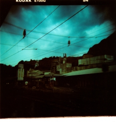 Industrial Post-Apocalypse. Camera: Holga 120. Film: Kodak E100G, cross processed.